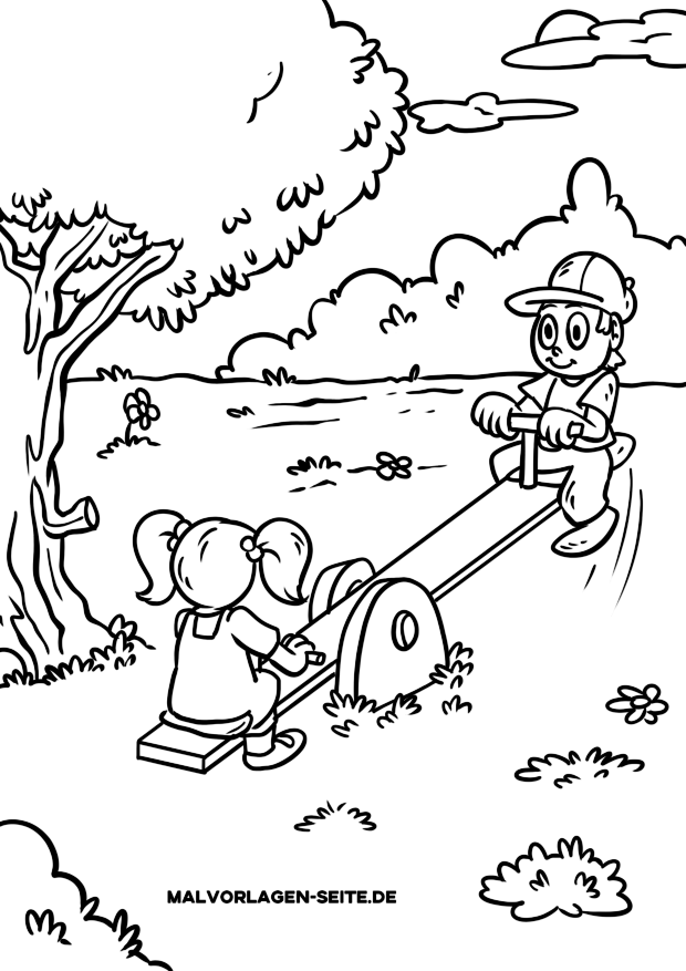 Coloring page children - playground rocker