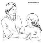Coloring page nurse with child - medicine