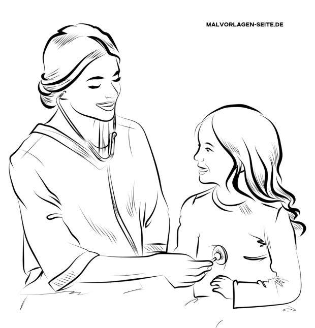 Malvorlage Krankenschwester mit Kind