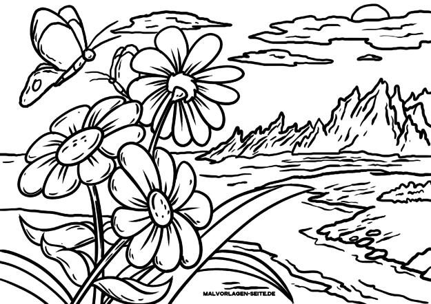 Coloring page landscape with flowers and mountains