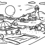 Coloring page landscape beach with lighthouse