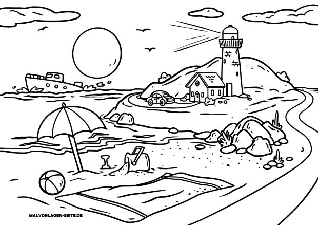 Malvorlage Landschaft Strand mit Leuchtturm