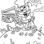 Coloring page delivery service Pizza | eat