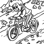 Coloring page mountain bike rider to color