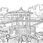 Coloriage pavillon / gazebo | jardin