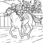 Väritys sivu hevosurheilu kilparadalla