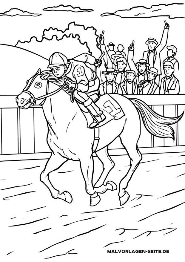 Väritys sivu hevosurheilu