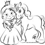 Coloring page unicorn and princess