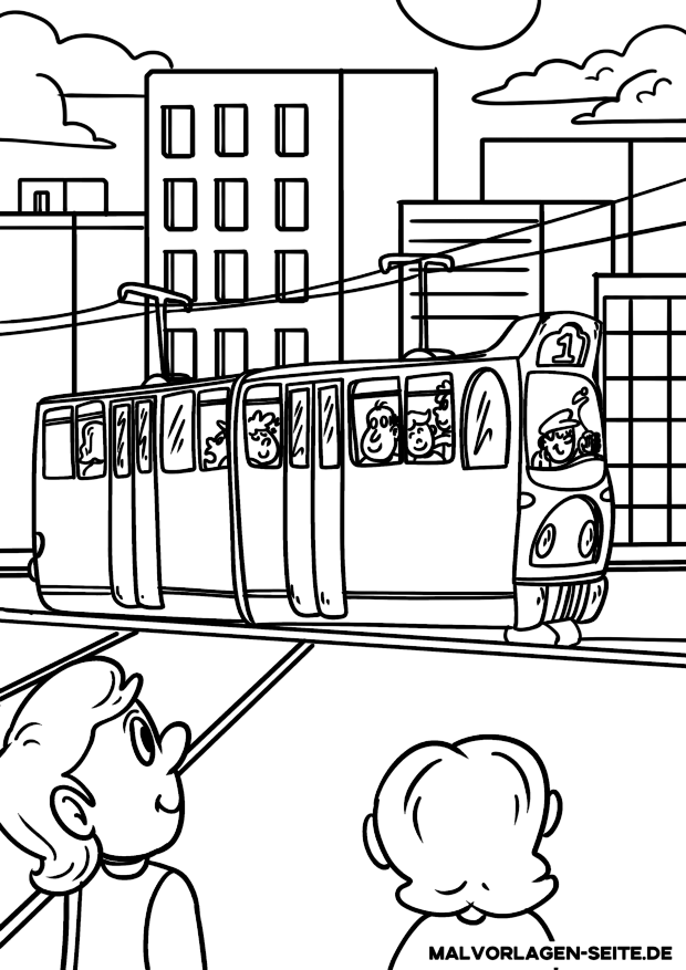Malvorlage Straßenbahn