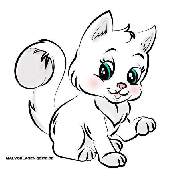 Kindgerechte Zeichnung Katze in Farbe