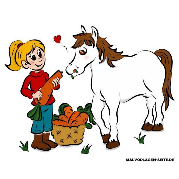 Kindgerechte Zeichnung Pferd in Farbe