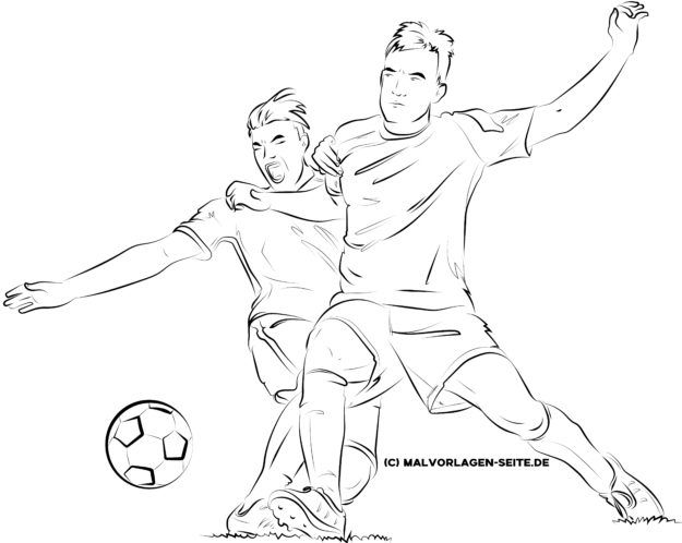 Coloring page soccer for adults - soccer player in duel