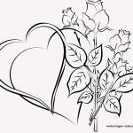 Template hearts with roses for lovers to color