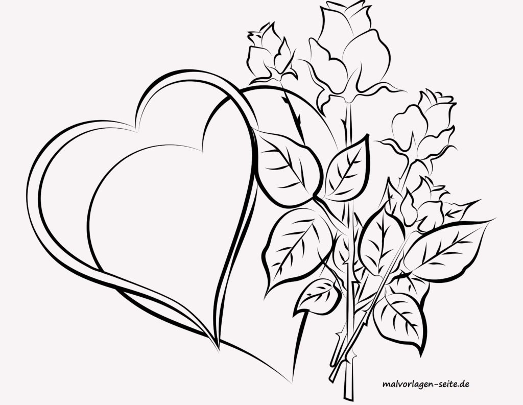 malvorlage für erwachsene herzen und rosen  kostenlose