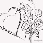 Coloring page for adults hearts and roses