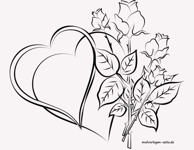 Coloring page for adults - hearts and roses