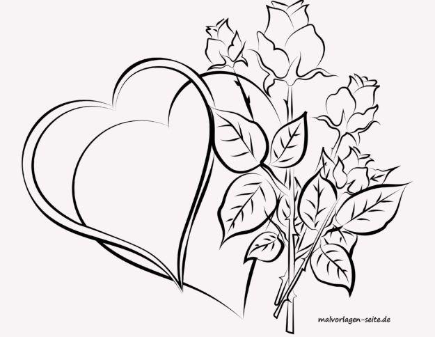 Malvorlage für Erwachsene - Herzen und Rosen