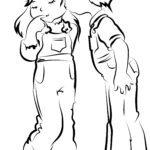 Vorlage Kinder die sich freundschaftlich küssen zum Ausmalen