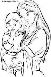 Mother and child in the arm for coloring for adults