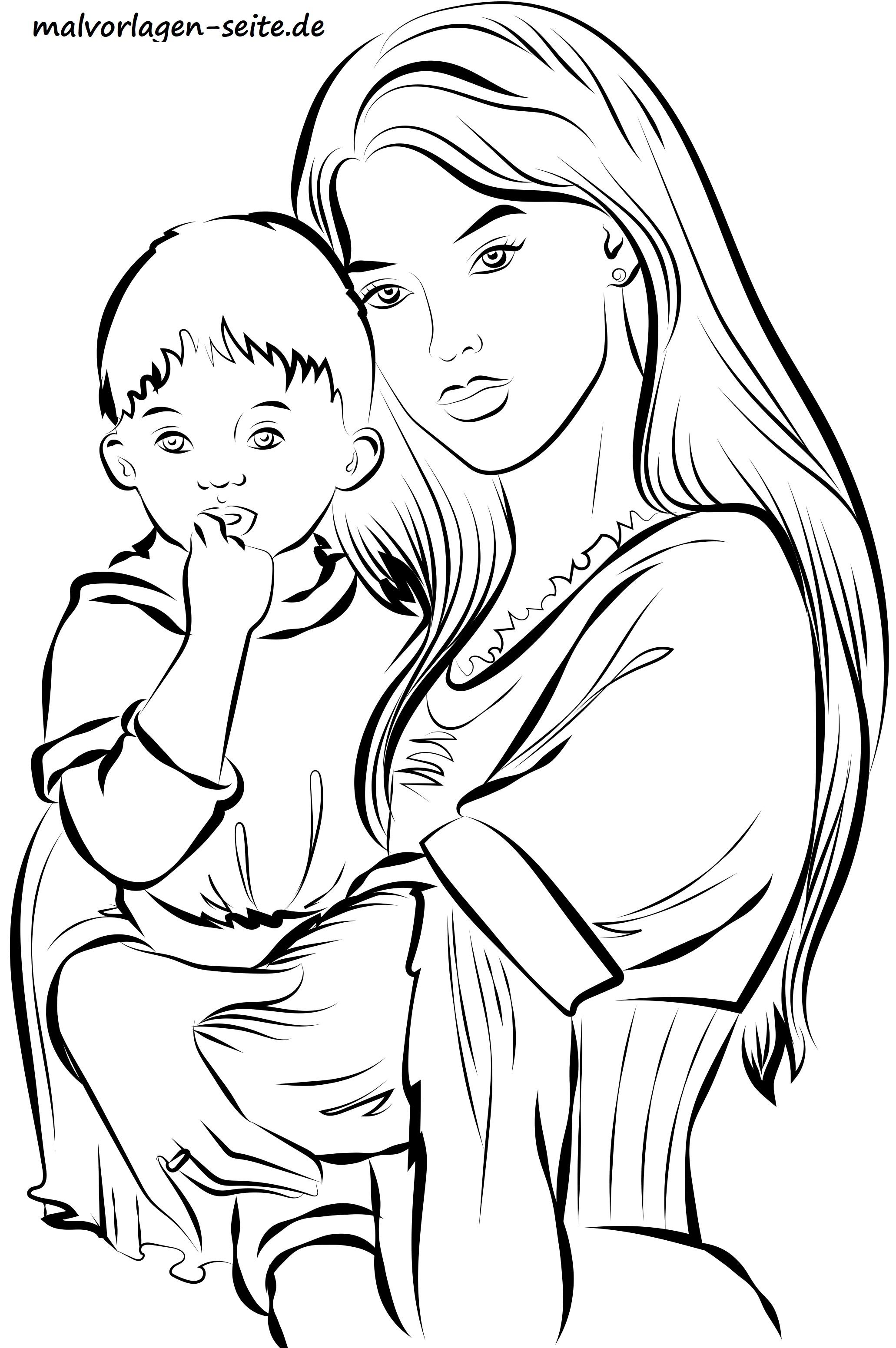 Mutter und Kind auf dem Arm zum Ausmalen für Erwachsene