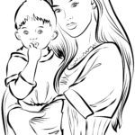 Coloring page for adults Mother with child