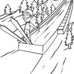 Coloring page ski jumping / ski flying