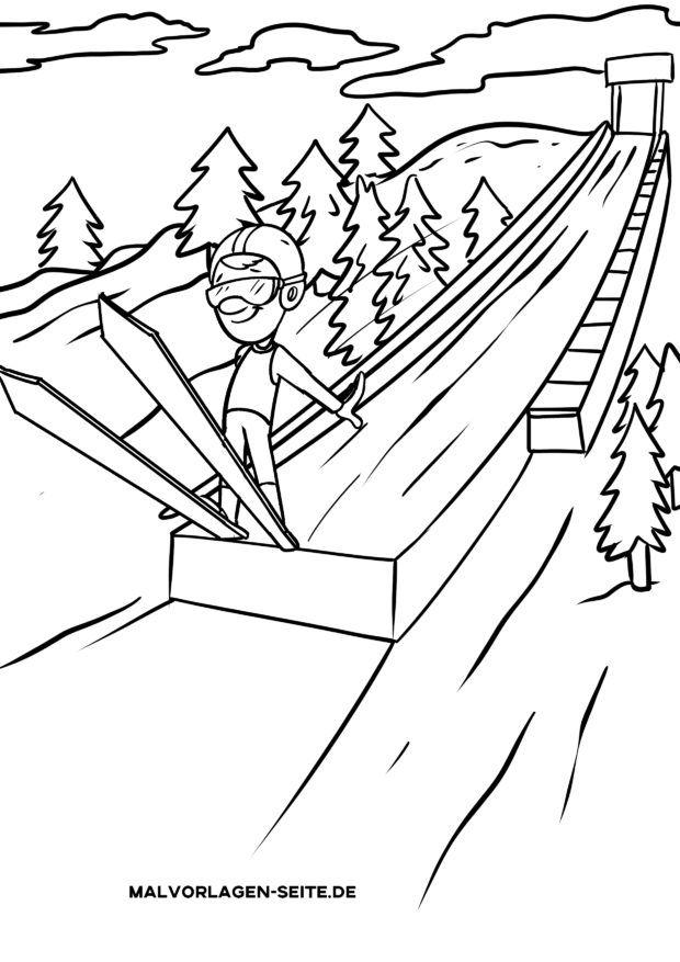 Malvorlage Skispringen / Skifliegen