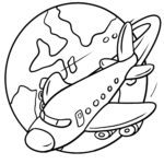 Coloring page holiday - airplane