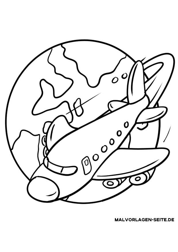 Coloring page By plane on vacation