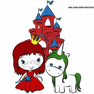 Kindgerechte Zeichnung Prinzessin und Einhorn in Farbe