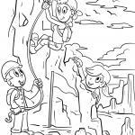 Coloring page Mountain rescue saves children to color