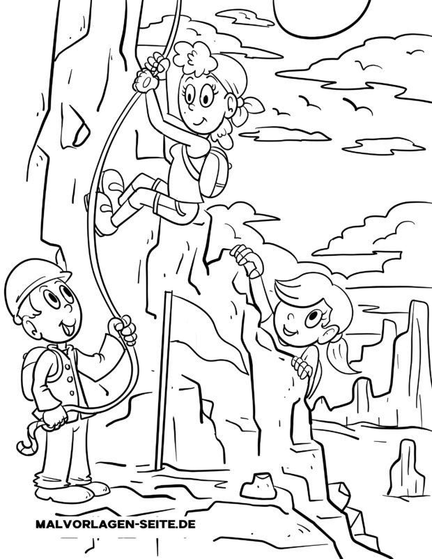 Coloring page mountain rescue