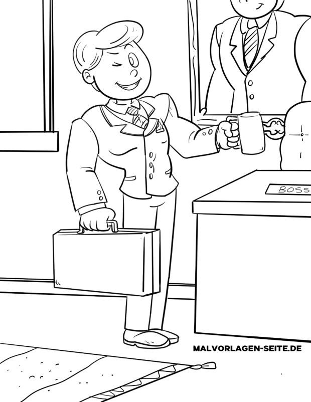 Coloring page office employee