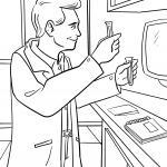 Coloring page Chemist in the office for coloring