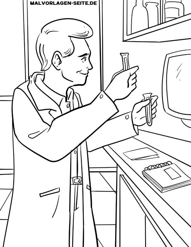 Coloring page chemist / chemical laboratory technician
