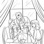 Coloring page waiter in the restaurant for coloring
