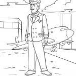 Coloring page pilot at the airport for coloring