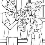 Coloring page veterinarian examines a dog for coloring
