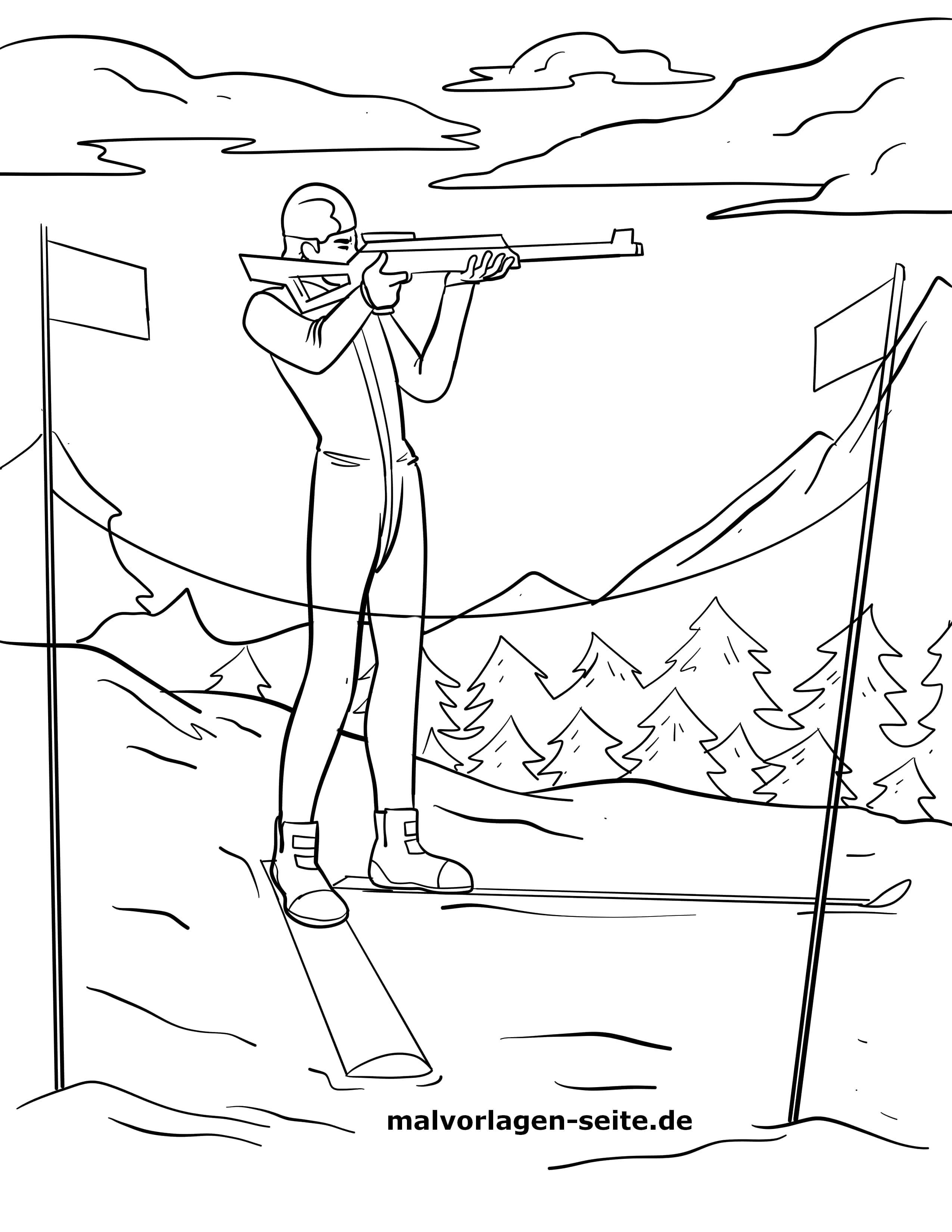 Malvorlage Biathlon Wintersport Sport