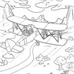 Coloring page biplane airplane