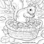 Coloring page squirrel foraging autumn