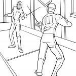 Coloring page fencing for children