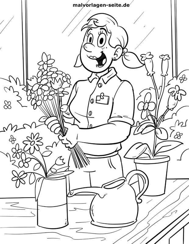 Väritys sivu Kukkakauppias