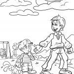 Children safety strangers coloring pages