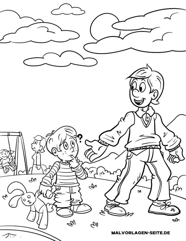 Coloring page Never go with strangers!