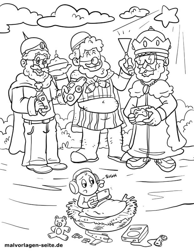 Coloring page Holy three kings / The three wise men from the Orient