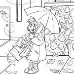 Frau mit Regenschirm Herbst Wetter zum Ausmalen