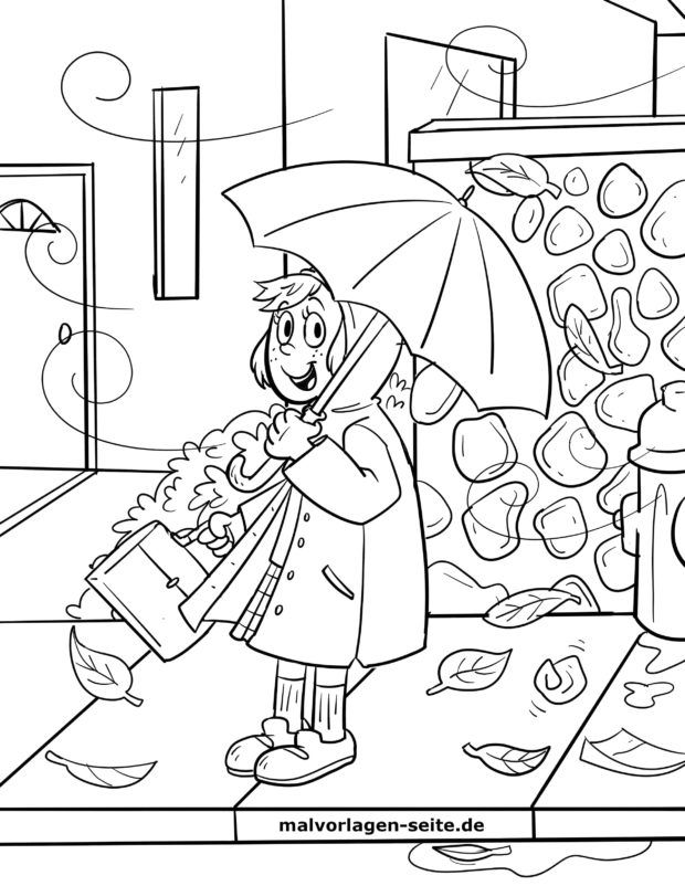 Coloring page woman with umbrella | autumn weather
