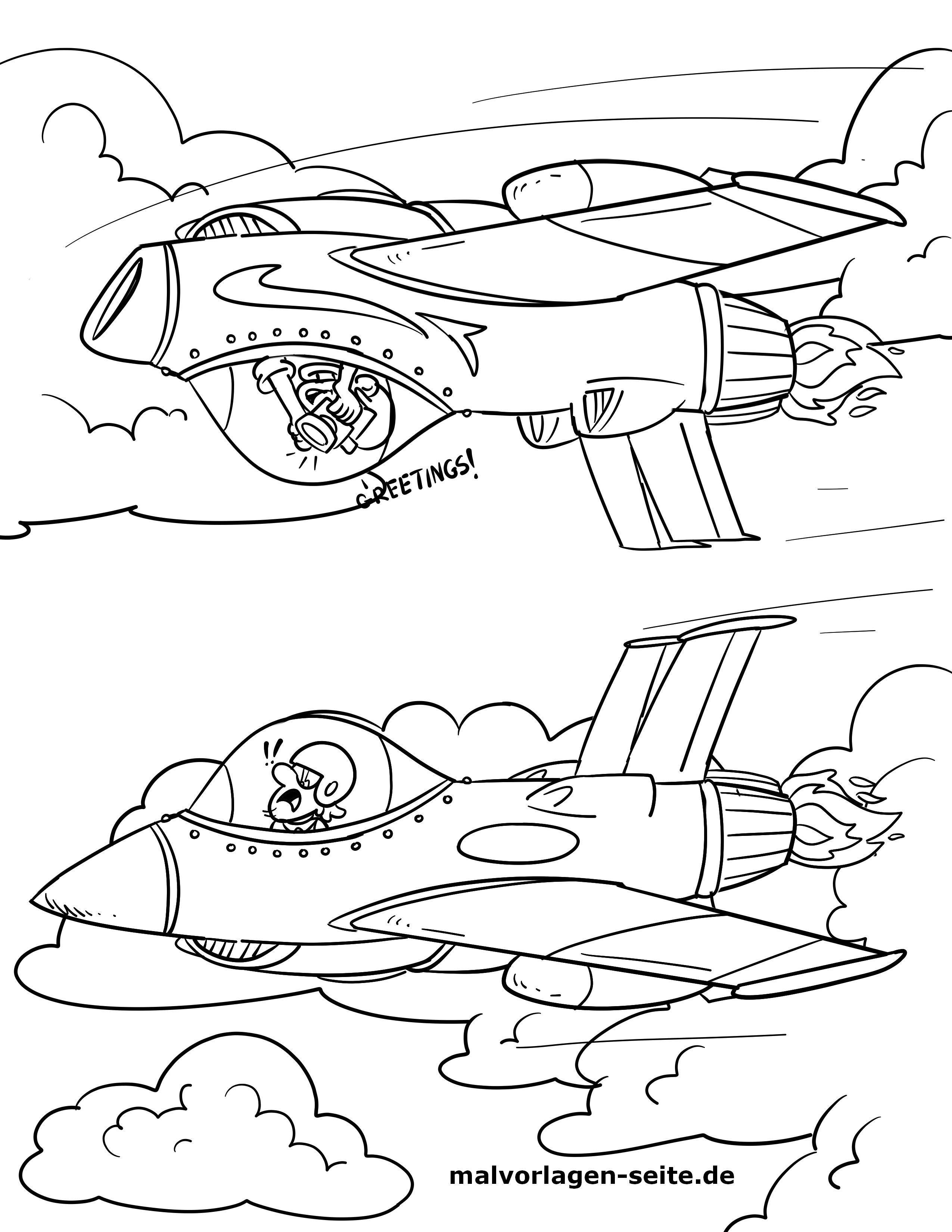 Malvorlage Kampfjet | Flugzeug - Ausmalbilder Kostenlos Herunterladen