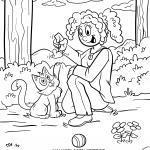 Malvorlage Mit der Katze spielen zum Ausmalen für Kinder